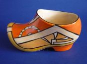 Rare Clarice Cliff Bizarre 'Orange V' Clog or Sabot c1930
